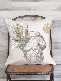 Pillow Cover Harvest Feather Turkey Thanksgiving by JolieMarche