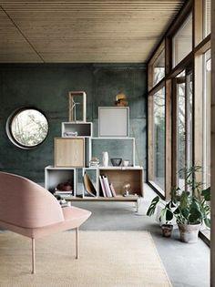 Muuto, PLY Rug Minimal Designer Rug By Danish Muuto. Modern Living Room  With Green