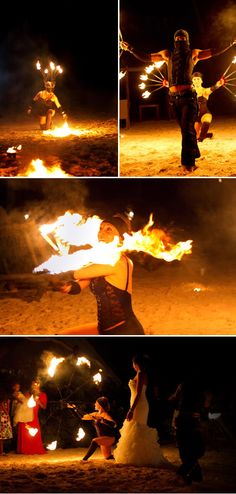 Hire local fire dancers for entertainment at your beach wedding