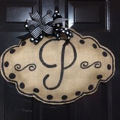 Inital Burlap Door Hanger by TickledPinkRhyne on Etsy
