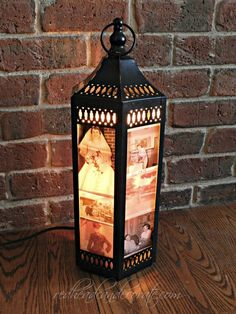 Get inspiration on a fun #DIY photo project for the home that is vintage and chic.  Put copies of old photos in a lantern with a small light bulb.