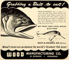 1950 Ad Wood Deep-R-Doodle Fishing Lure Bait Tackle Sporting Goods Outdoors YFS2