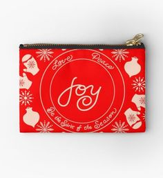 'Be the spirit of joy for the holiday season through peace and love within snowflakes and mittens' Zipper Pouch by Set You Free, Merry And Bright, Iphone Wallet, Gifts For Family, Zipper Pouch, Sell Your Art, Peace And Love, Mittens, Are You The One