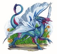 Faerie dragons are extremely small in comparison to their large metallic dragon, or chromatic dragon cousins, only about one to two feet long. They have iridescent scales that reflect all colors of the rainbow. They have platinum colored butterfly-like wings and a long, prehensile tail.