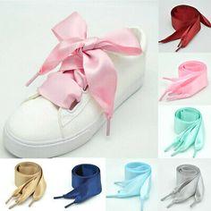 Shoelaces Flat Silk Satin Ribbon Sport Shoes Laces Sneakers Thin Shoelaces