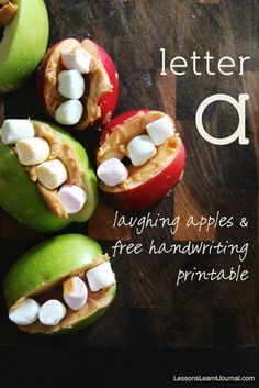 Letter a, laughing apples are fun, easy and delicious to make with kids in the kitchen. Includes free handwriting printable for all lower case letters. Cooking In The Classroom, Preschool Cooking, Fall Preschool, Cooking With Kids, Apple Activities, Preschool Learning Activities, Abc Crafts, Free Handwriting, Community Workers