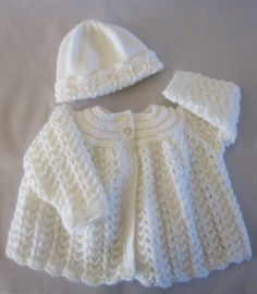 Newborn Baby Sweater Cardigan and Hat Set Hand Knitted Matinee Jacket  Ships from France