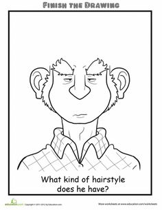 Worksheets: Finish the Drawing: What Kind of Hairstyle Does He Have?