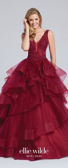 Prom Dresses 2017 - Ellie Wilde for Mon Cheri -  wine sleeveless tulle ball gown prom dress with lace bodice  - Style No. EW117081