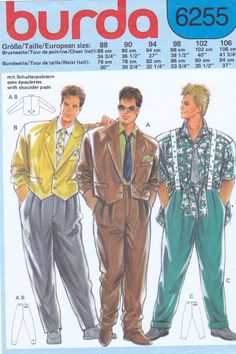 Unique 1980s Mens Funky Styled Suit Pattern with Cropped Tailored Jacket Loose Fitting Pleated Pants from Burda Patterns on Etsy, $14.00