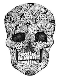 tete mexicaine: Crâne humain avec des fleurs dessinées à la main, des papillons…