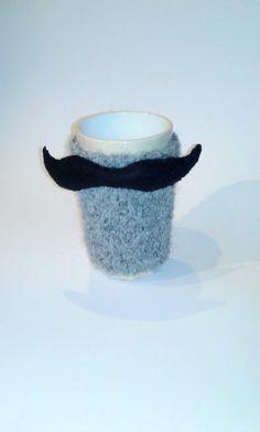 Cup Cozy/ Mustache Cozy Cup/ Knitted Mug Cozy/ by NataNatastudio