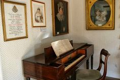 A view of Jane Austen's pianoforte at Chawton Cottage.
