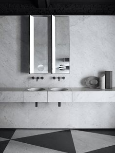 Part of Elisa Ossino's Fontane Bianche series, the Ciane drawers and floating shelves were created as a homage to a modern day legend, the groundbreaking Donald Judd. The drawers are available in two widths and are designed to sit alongside the Alfeo basin or used on their own, whilst the floating shelves can be used in horizontal or vertical layouts.