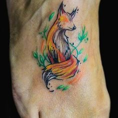 Image result for watercolor fox tattoo