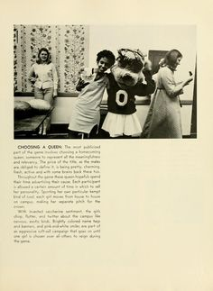 Athena Yearbook, 1970. Homecoming 1969. Bobkitten and women posing. :: Ohio University Archives