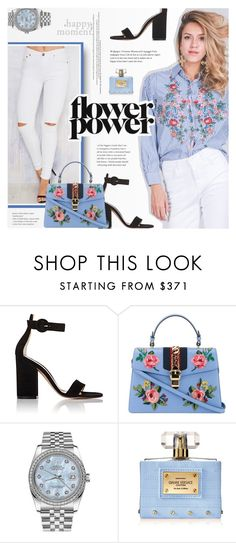 """""""Flower Power"""" by novalikarida ❤ liked on Polyvore featuring Gianvito Rossi, Gucci, Rolex and Versace"""