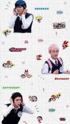 — sky + the powerpuff girls . Exo Stickers, Cute Stickers, Baekhyun, Kaisoo, Park Chanyeol, Exo Album, Exo Lockscreen, Exo Korean, Kpop Exo