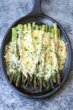 Asparagus Gratin in an iron skillet.