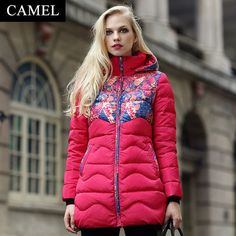 2015 Winter Thicken Warm Woman Down jacket Coat Parkas Outerwear Luxury Hooded Fashion Mid Long Plus Size XL Printing Red