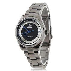 Frauen elegante Zifferblatt schwarz Stahlband Automatik-Werk Armbanduhr – CAD $ 30.35