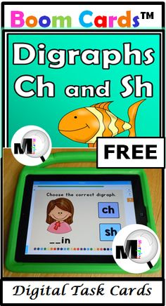 FREE Digraphs Digital Task Cards - CH and Sh at BOOM Learning are free, paperless, self-correcting, interactive, and no prep Pre Reading Activities, All About Me Activities, Fun Classroom Activities, Special Education Classroom, Kindergarten Activities, Interactive Learning, Fun Learning, Fun Games For Kids, Alphabet
