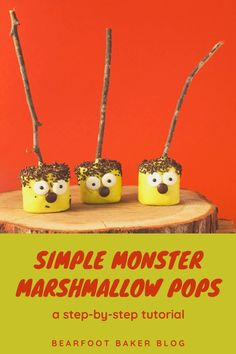 Do you need an easy Halloween treat to make for yourself or to make with your kids? Try these simple marshmallow pops! They make a tasty Halloween treat idea, and they are an easy treat to make! You'll have an impressive dessert in no time at all! Visit www.thebearfootbaker.com for the full step-by-step tutorial for these Halloween desserts! #thebearfootbaker #halloweencookies #halloween #marshmallowtreats