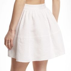 Express full jacquard mini circle skirt white Full mini/skater skirt made of high quality jacquard material making it hold its circle shape. Zipper back. Size 0. Worn one time & in perfect condition. Express Skirts Circle & Skater