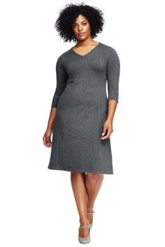 7e3aca42f5b Women s Plus Size Elbow Sleeve Supima Fit and Flare Dress