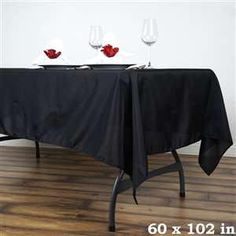60 x 102 inch Black Polyester Rectangular Tablecloth Black Tablecloth, Tablecloth Sizes, Chair Covers, Table Covers, Wedding Table Linens, Wedding Tablecloths, Banquet Tables, Party Tables