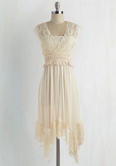 Fairytale Protagonist Dress by Ryu - Mid-length, Knit, Lace, White, Solid, Handkerchief, Lace, Wedding, Bride, Boho, A-line, Cap Sleeves, Better, Daytime Party, Fairytale