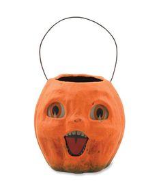Vintage Pumpkin Bucket Small - Paper Mache Halloween Treat Bucket