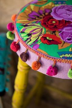 Hipster Decor : Picture Description⋴⍕ Boho Decor Bliss ⍕⋼ bright gypsy color & hippie bohemian mixed pattern home decorating ideas - stool with pom poms :-) Gypsy Style, Bohemian Style, Boho Chic, Shabby Chic, Modern Bohemian, Hippie Style, Boho Bar, Hippie Bohemian, Bohemian Decor