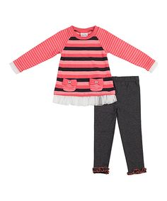 Loving this Coral Stripe Top & Leggings - Infant & Girls on #zulily! #zulilyfinds
