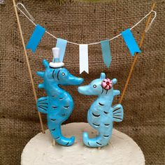 Turquoise Seahorses cake topper  for your Rustic by indigotwin