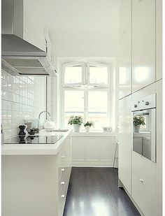 If I had to have a tiny kitchen, I would want this one. I want this tiny kitchen. White Galley Kitchens, Galley Kitchen Design, Galley Kitchen Remodel, Interior Design Kitchen, Home Kitchens, Small Kitchens, Kitchen Small, Kitchen Ideas, Kitchen Decor