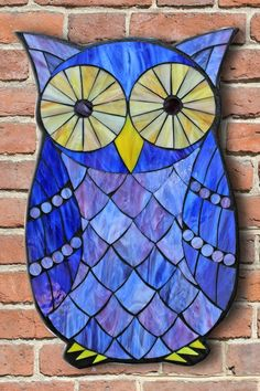 Learn the art of Stained Glass Mosaics! Sign up for the Online Class via www.kasiamosaicsclasses.com  Student Work from a Kasia Mosaics Stained Glass Mosaic Owl Workshop - Mosaic Owl by Chris.