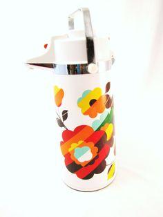 Vintage Thermos. Summer PICNIC DECOR. the Pumper Airpot Hot and cold liquid dispenser Nobility Orange Floral Design