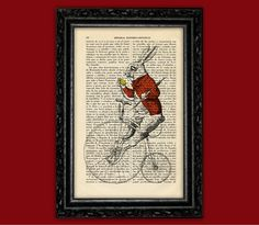 Vintage Rabbit Riding a Bicycle Art Print - Alice in Wonderland Poster Book Art Dorm Room Print Gift Wall Decor Poster Dictionary Animal Art...