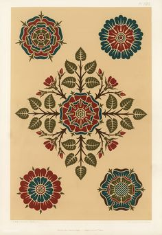 Pattern featuring roses from The Practical Decorator and Ornamentist (1892) by G.A Audsley and M.A. Audsley. Digitally enhanced from our own original first edition of the publication. | free image by rawpixel.com