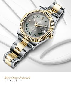 Rolex Datejust II 41 mm in Rolesor with a fluted bezel, slate dial and Oyster bracelet. #Wimbledon #Tennis #RolexOfficial