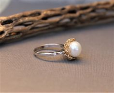 Two Tones Pear Solitary Ring, Unique Cubic Zirconia Sterling Silver 14k Gold Filled Wire Crochet White Large Pearl Engagement Wedding Ring by Wired2BDesired on Etsy