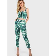 542b64d72aa9 Front Tie Leaf Print Crop And Matching Pants Set Two Piece Outfit, 2 Piece  Romper