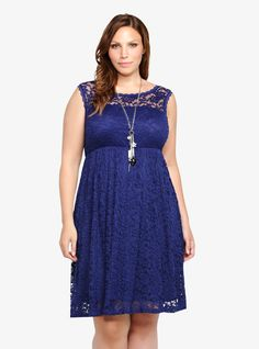 Lace Illusion Empire Dress | Torrid plus sized clothes...I love this elegant lace in royal blue...comes in turquoise too