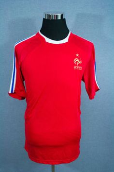 FRANCE-FFF-Mens-Soccer-Futbol-Shirt-Jersey-Short-Sleeve-RED-Size-LARGE