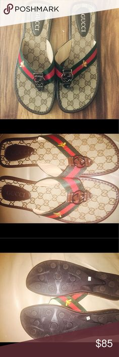 GG print flip flops with gold fly emblem on side. Never worn BN signature GG print with red and green thong strap with Gold fly on side. Not A (so don't ask obvious please) Great quality Gucci Shoes Sandals