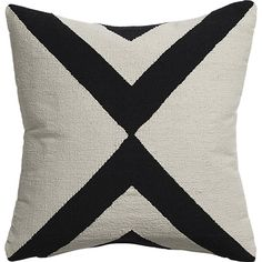 """Shop xbase 23"""" pillow.   Handmade dhurrie pattern crisscrosses in contrasting ivory and black.  100% cotton flips to solid natural."""