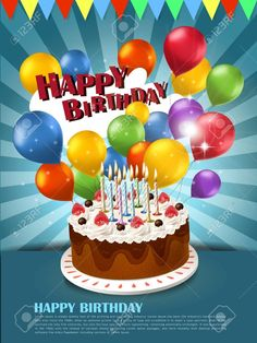 Great Image of Happy Birthday Cake And Balloons . Happy Birthday Cake And Balloons Colorful Happy Birthday Celebration Poster Template With Cake Happy Birthday Greetings Friends, Happy Birthday Wishes Photos, Happy Birthday Posters, Birthday Cake With Photo, Happy Birthday Celebration, Happy Birthday Wishes Images, Birthday Cake With Candles, Birthday Wishes Cards, Birthday Images