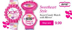 Sweet Candy Watch with mirror...just in time for Valentine's Day now on sale - Avon Kid's Club. Contact me for more information: contact to order: Elizabeth.marra-chiodo@rogers.com interavon.ca/elisabetta.marrachiodo facebook.com/avonformakeup 416-669-9217