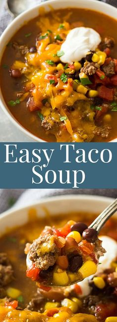 This Easy Taco Soup is packed with flavor, takes less than 30 minutes to make an. - Easy and Healthy Soup Recipes - Soup Recipes Beef Soup Recipes, Healthy Diet Recipes, Mexican Food Recipes, Taco Bean Soup Recipe, Quick And Easy Taco Soup Recipe, Healthy Taco Soup, Easy Recipes, Chicken Recipes, Mexican Taco Soup Recipe